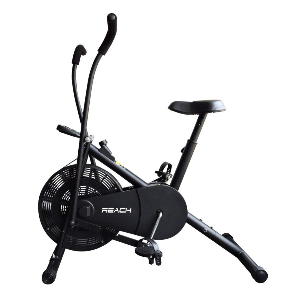 Reach Air Bike Exercise Cycle With Adjustable Cushioned Seat and Moving Handles